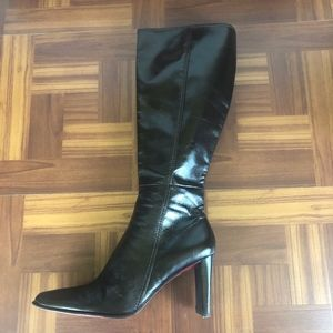 NINE WEST DANNAO Brown Leather Square Toe Boots